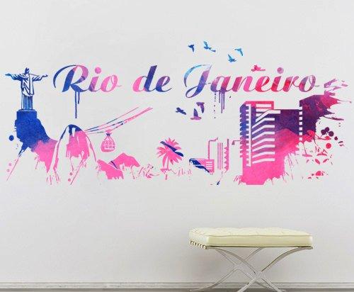 Moonwallstickers Rio de Janeiro Skyline Watercolor City Wall Sticker Brasile–145x 80cm   147,1x 60cm
