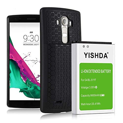 YISHDA Battery for LG G4, 6600mAh Replacement LG G4 Extended Battery BL-51YF with Back Cover & TPU Protective Case for H815 H812 H811 H810 VS986 VS999 US991 LS991 F500 Phone | LG G4 Battery