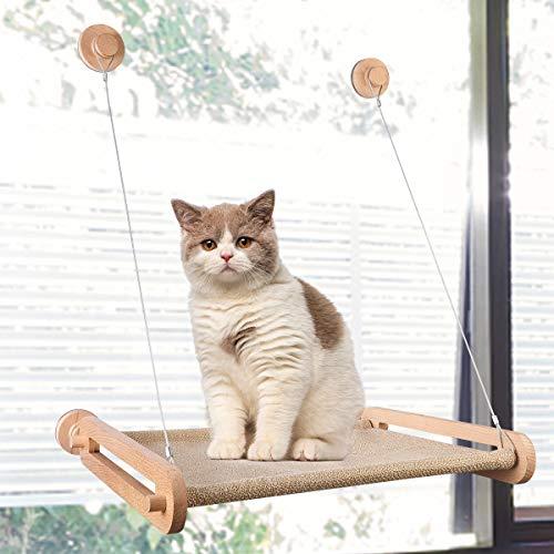 CATISM Hölzern Fenster Katzenhängematte für Katzen bis 15 kg Fensterplatz Katzen Hängematte Katzenliege Fenster Platz Window Lounger Katzen Hängematten Fenster Katzenbett mit 4 Große Saugnäpfe