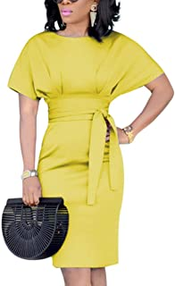 Women's Elegant Pencil Midi Dress Short Sleeve Party Cocktail Dresses with Belt