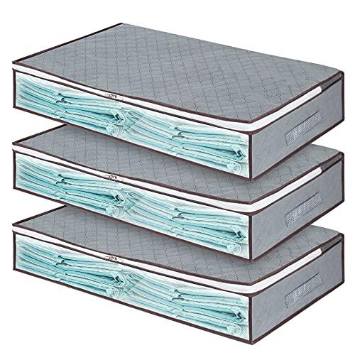 Unterbett-Aufbewahrungstaschen mit Reißverschluss, große Unterbett-Organizer, Behälter, Behälter für Kleidung, Bettwäsche, Tröster mit transparentem Fenster (lang grau 2) 3 Stück
