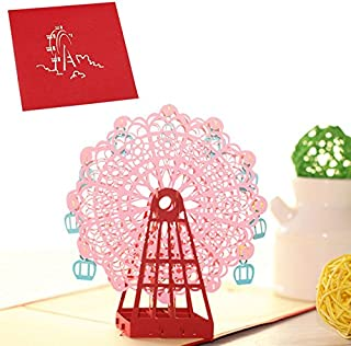 3D Ferris wheel Pop Up Card and Envelope - Funny Unique Pop Up Greeting Card for Birthday, Mother's Day, New Year, Anniversary, Valentine, Wedding, Graduation, Thank You. Pink Ferris wheel