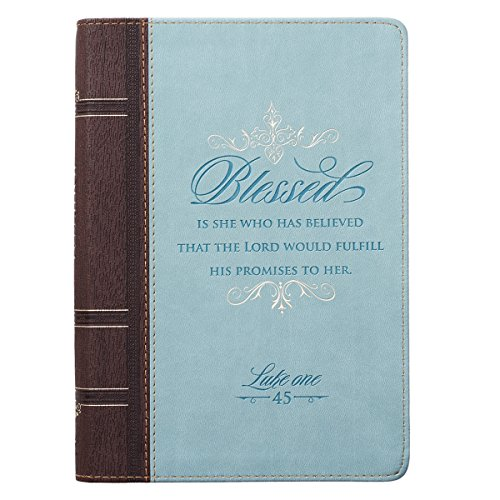 Christian Art Gifts Blue Faux Leather Journal | Blessed Is She Luke 1:45 Bible Verse | Flexcover Inspirational Zippered Notebook w/Ribbon and Lined Pages, 6.5 x 8.75 Inches