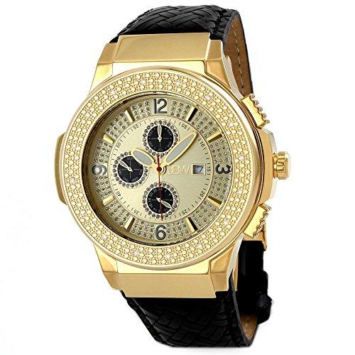JBW Men's JB-6101L-D'Saxon' Luxury Water Resistant Gold-Plated Braided Black Leather Diamond Watch