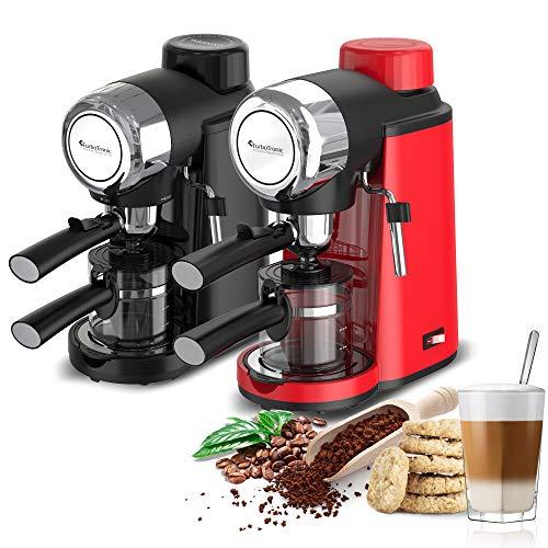 Turbotronic/Espresso Siebträgermaschine mit Milchschaumdüse / 3,5 Bar/schwarz, rot/Pads