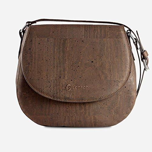 Corkor Veganer Schultertasche Böhmischen Umhängetasche Damen Geldbeutel Handtasche Natur-Leder Natur - Saddle Bag - Beuteltasche aus Veganem Leder Braun - 6