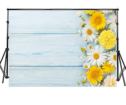 Sensfun 7x5ft Blue Wood Photography Backdrops Spring Theme Yellow White Daisy Flowers on Light Wood Plank Photo Background for Bridal Shower Birthday Party Children Photoshoot Studio Props(WP094)