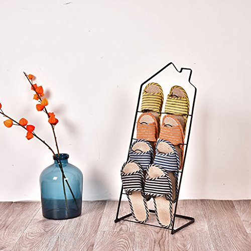 XUEYAN Meuble à Chaussures American Iron Art Meuble à Pantoufles Simple Salon/Toilette/Salle de Bains Palier Meuble à Chaussures Petit Meuble à Pantoufles (Couleur : Noir)