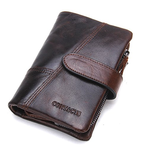 Contacts, portafogli da uomo in vera pelle, con scomparti per carte di credito, Brown1 (Marrone) - 10440746