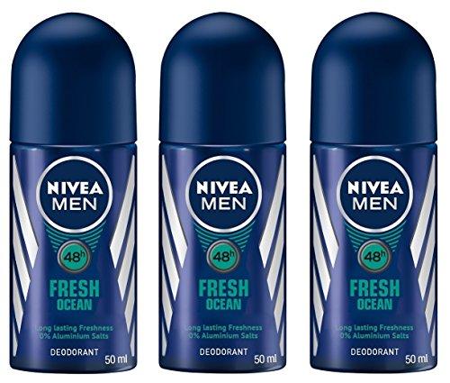 (Pack of 3 Bottles) Nivea FRESH OCEAN Men's Roll On Deodorant (Pack of 3 Bottles, 1.7oz / 50ml Each Bottle) 0% Aluminium Salts