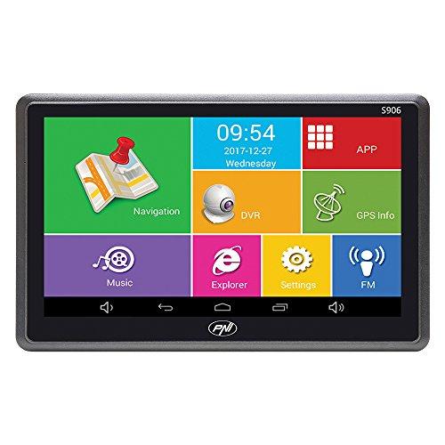 PNI 7 Zoll GPS Navigationssystem und Auto DVR Dash Cam integriert S906, Android 6.0, Hier Karten und Waze-Karten vorinstalliert