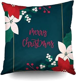Ducan Lincoln Pillow Case 2PC 18X18,Fundas De Almohada De Sofá,Fundas De Funda De Almohada Cuadrada Feliz Navidad Tarjeta De Felicitación Flor Floral Cojín De Ambos Lados