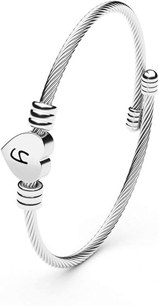 N+A Heart Initial Bracelet for Girls Max Max 85% OFF 52% OFF Steel Womens Cabl Stainless