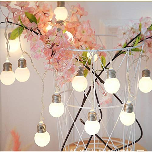 Zshhy 6M 40LEDs Bulbs String Lighting Battery Power Fairy Lights Wedding Birthday Party Garden Gazebo Pergola Rooftop Decoration-White