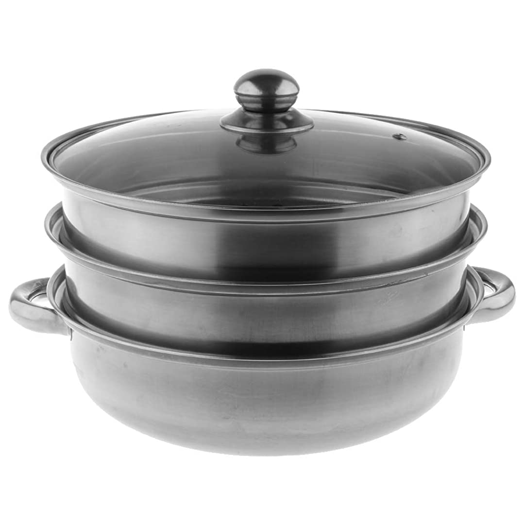 バン可能したがって蒸鍋 蒸し鍋 両手鍋 スチーマー 蒸し器 ガラス蓋 ステンレス鋼 全5種 - 3層A