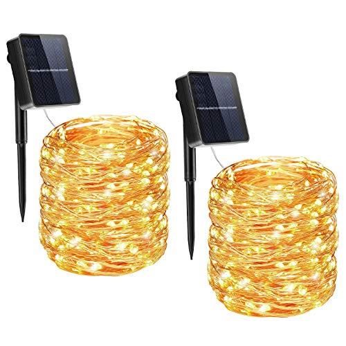 Osaloe Catena Luminosa Solare, 【2 Pezzi】 22M 200 LED Luci da Giardino Solari in Filo di Rame con 8 Modalità di Catena Luminosa Impermeabile da Esterno per Giardino Balcone Decorazione, Bianco Caldo
