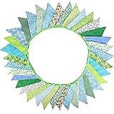 G2PLUS Süße Beidseitig Wimpel Girlande, 10M Bunting Wimpelkette Grün Stoff Stoffgirlande mit 36 STK Farbenfroh Wimpeln für Hochzeits Geburtstag Party