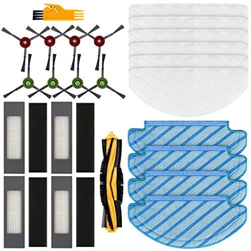 FHzytg 24 Stück Ersatzteile Filter Seitenbürsten Wischtuch Rollbürste Wischtücher Accessories für Ecovacs DEEBOT OZMO T8 Staubsauger Roboter