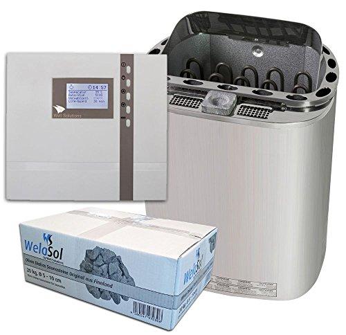 Well Solutions® Sauna Ofen Scandia Combi 8 kW Steuerung H3, Steine