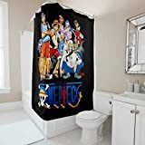 Firelife One Piece Anime Duschvorhang Anti-Schimmel Wasserdicht Waschbar Polyester Badewanne Vorhänge mit Haken Schwarz 180x200cm