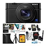 Sony RX100 VI Cyber-shot Digital Camera with 24-200mm Zoom Lens with AGR2 Attachment Grip, 64GB V30 SD Card, Battery Kit, Software Suite, Flexible 12-inch Spider Tripod, and Accessory Bundle (7 Items)