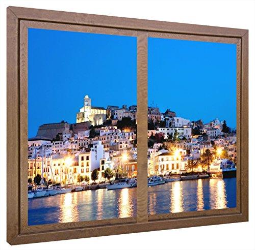 CCRETROILUMINADOS Ibiza Cuadros Decorativos Ventanas Falsas Retroiluminadas, Madera, Nogal, 80 x 60 x 6,5