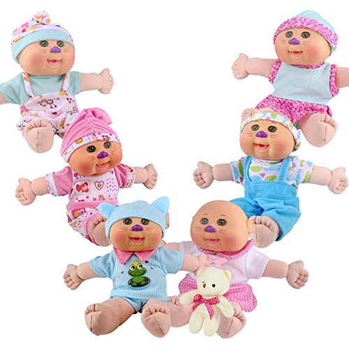 Dressbar 6pcs for 8-9-10-11 Inch Baby Doll Clothes Outfits Reborn Newborn Costumes with Bear Doll Birthday Xmas Gift Wrap