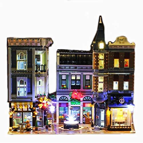 Puzzle GCX- Street View Voll Gebäude Serie Montageplatz Beleuchtung Schwierige Blöcke montieren Gebäude Haus Modell enthält mehr als 4000 Blöcke Interessant (Color : Square-Light)