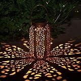 Faroles Solares Exteriores Luz Solar Colgante Luces Jardines Decorativas Lámpara Exterior Recargable Portátil para Jardín Patio Porche y Camino (B)