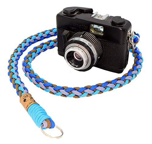 Kameragurt aus Paracord, Blautöne und Braun, Handgeflochten, Individuelle Länge, 1.5 Zentimeter breit