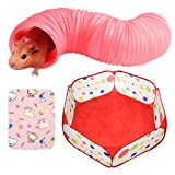 Roundler Small Animal Tunnel, Collapsible Plastic Guinea Pigs Tube Tunnel&Small Animals Playpen, Fun Toys for Hiding Training Chinchillas, Ferrets, Guinea Pigs, Gerbils, Hamsters, Dwarf Rabbits (Red)