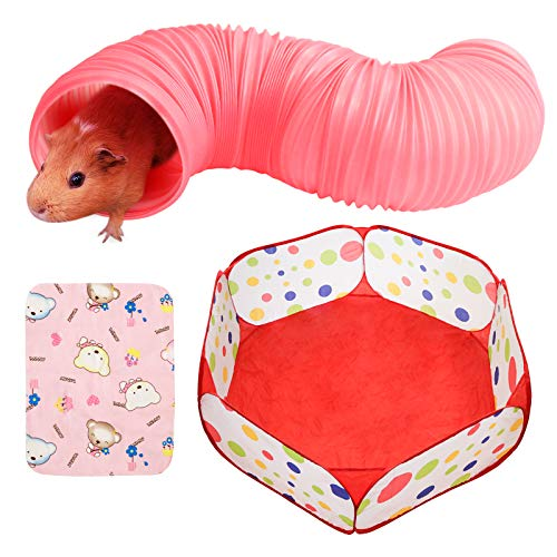 Small Animal Tunnel, Collapsible Plastic Guinea Pigs Tube Tunnel&Small Animals Playpen, Fun Toys for Hiding Training Chinchillas, Ferrets, Guinea Pigs, Gerbils, Hamsters, Dwarf Rabbits (Red)