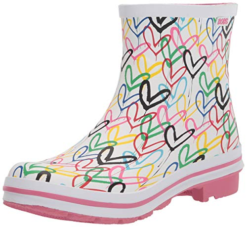 Skechers BOBS from Women's 113617 Rain Boot, White Multi, 10