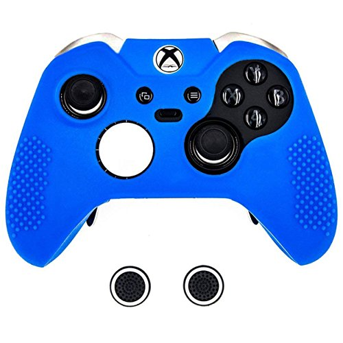 Taifond Anti-Slip Silicone Controller Cover Protective Skins for Microsoft Xbox One Elite Controller with Two Thumb Grip Caps (Blue)