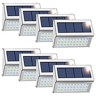 ROSHWEY Solar Deck Lights Outdoor, 30 LED Waterproof Step Lamps Stainless Steel Walkway Security Lights for Garden Fence Patio Pathway