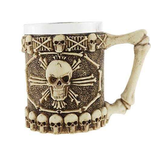 MagiDeal 450ml Gótico Cráneo Huesos 3D Taza Bebidas Café Cerveza Té Jugo Agua Taza Regalo