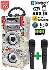 Oferta en DYNASONIC - Altavoz Bluetooth con Karaoke y Micrófono