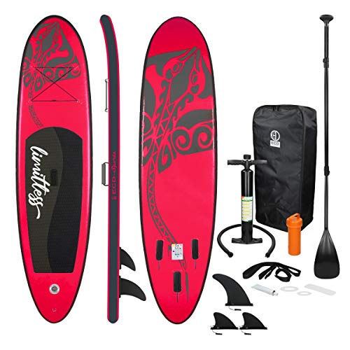 ECD Germany Tavola Gonfiabile Paddle Board Stand Up Limitless (SUP) 308 x 76 x 10 cm Rosa Diversi Modelli Pagaia in PVC Include Pompa Borsa da Trasporto e Accessori Surfboard Tavola Paddle Surf Board