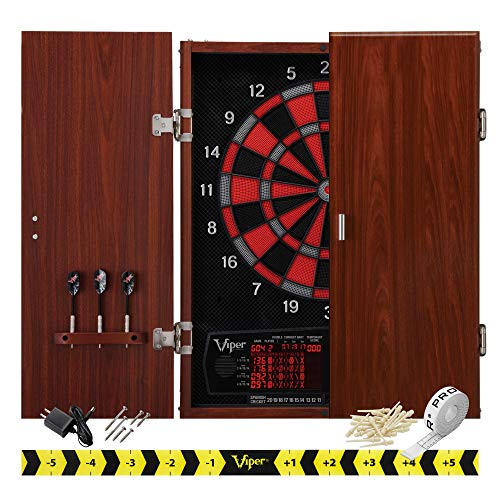 "Viper by GLD Products Neptune Electronic Dartboard Cabinet Combo Pro Size Over 55 Games Large Auto-Scoring LCD Cricket Display Extended Dart Catch Area 16 Player Multiplayer with Soft Tip Darts and Power Adapter , 21.5"" L x 26.5"" W x 3.5"" H"