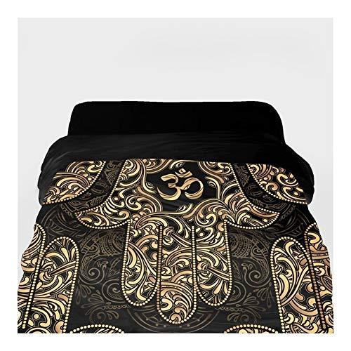 3D-Bettbezug King/Queen/Custom, Decke/Tröster Abdeckung 220/240,1pc Bettwäsche Schwarz Golden Hand Lotus (Color : 33, Size : 155x215cm)