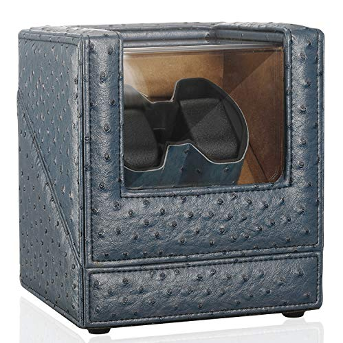 CHIYODA Dual Watch Winder with Wood Shell and PU Surface, Quiet Japanese Motor, 12 Rotation Modes