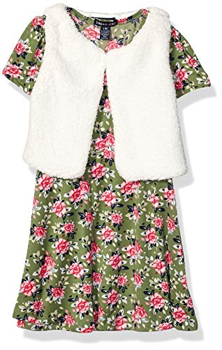 Limited Too Girls' Little Faux Fur Vest and Printed Knit Dress Set, Roses Multi, 5
