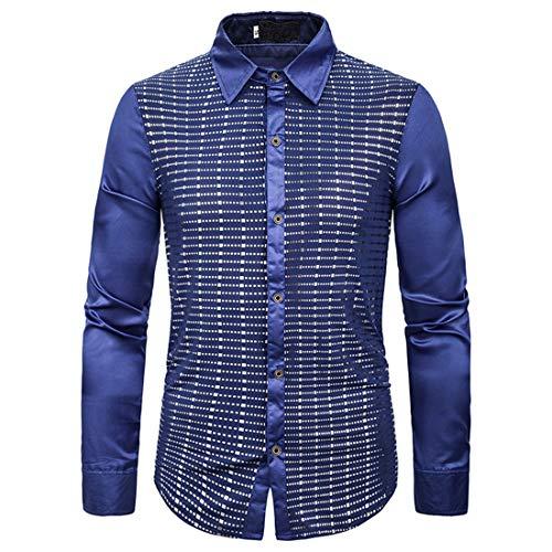 Men Shirt Men Shirt Casual Comfortable Lapel Long Sleeve Loose Sequin Men Shirt New Buttons Trend Sequins Disco Bar Party Rave Rock Band Men Shirt Fashion Men's Shirts Z-Blue. L
