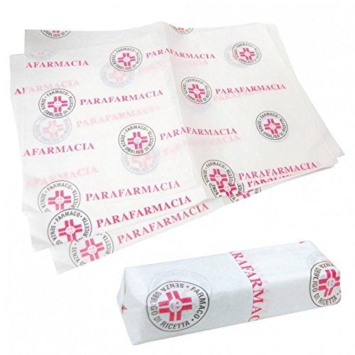 Carta per parafarmacia - Formato cm. 25x37 - Scatola da Kg. 10 (circa 2600 fogli) - Carta kraft con logo a due colori - Ideale per incartare e confezionare medicinali e prodotti farmaceutici da banco