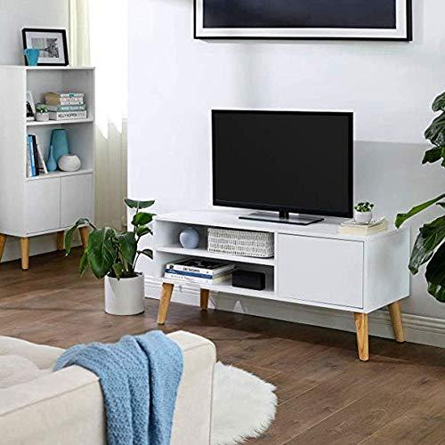 Mueble de TV con 2 estantes y 1 puerta, 100 x 40 x 50 cm, mueble bajo de madera para televisor moderno