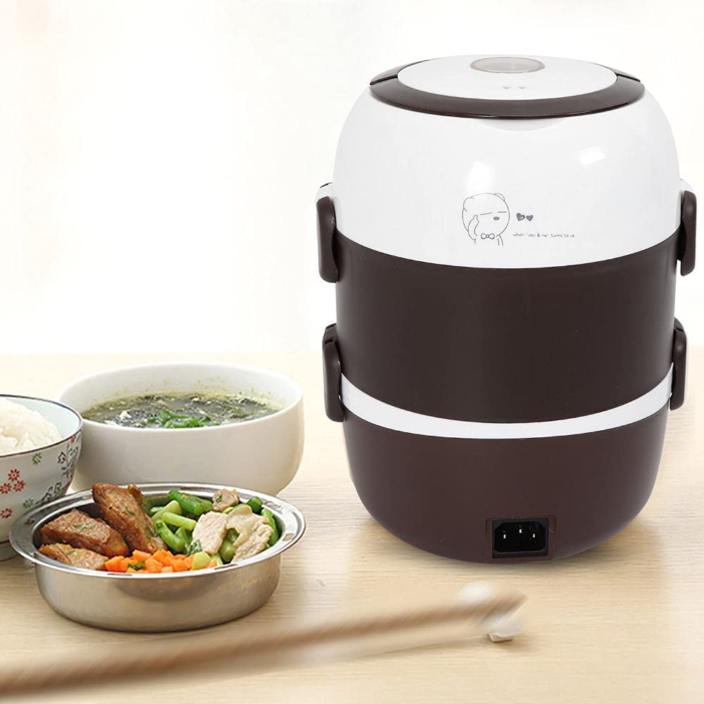 Portable 3 Layers 2L Electric Lunch Box Steamer Pot Rice Cooker Stainless Steel