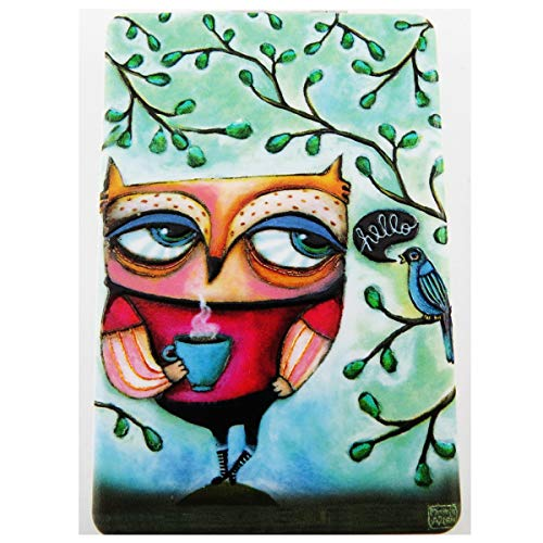 Allen Designs [R1971] - Miroir de poche 'Allen Designs' vert multicolore (chouette) - 8.5x5.5 cm