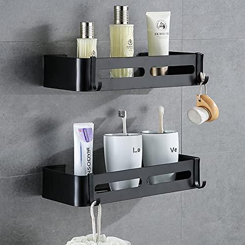 Yeegout Estantes de Esquina de baño sin Taladro con Ganchos extraíbles Almacenamiento de Carrito de Ducha Adhesivo de Aluminio (Cuadrado Negro)