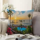 Square Sunset On Beach Seaside Adeje Tourist Coast Outdoor Hotel Playa Tenerife Las Spain Nature Holidays Funda de Almohada 18x18 Pulgadas