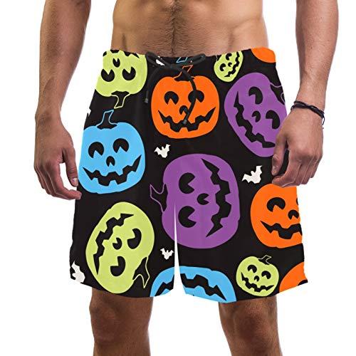 Pantalones cortos de playa de surf para hombre de secado rápido con bolsillo calabazas coloridas